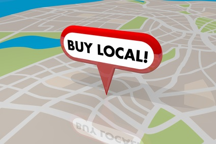 Buy Local Pin Map Words Shop Your Hometown 3d Illustration